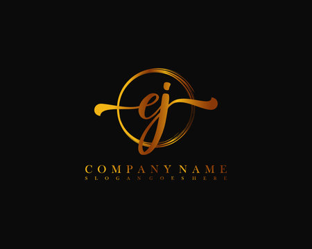 EJ Initial handwriting logo with circle hand drawn template vector