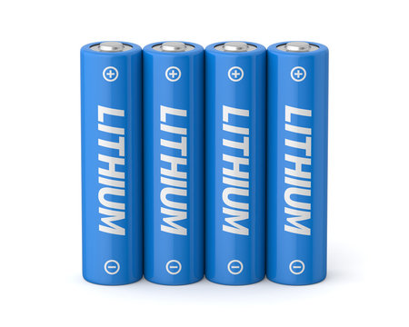 3d rendered four lithium aa batteries on a white background.