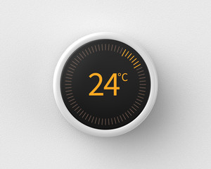 3d rendered smart thermostat showing the temperature in celsius mounted on a white wall.