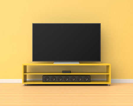 3d rendered widescreen television on a yellow stand with a sound bar below it in a room with yellow walls and a wooden floor.