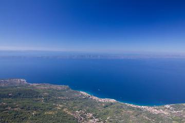 Mountain view, Croatia, Dalmatia, Makarska resort sea panoramic landscape