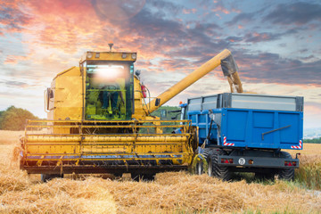 combine and a tractor during the harvest