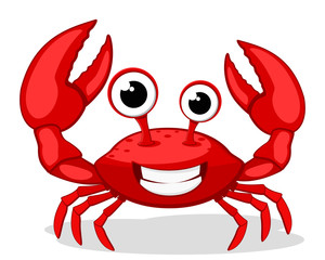 Crab character smiling with big claws on a white.