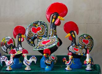 Portugal: Madeira traditional souvenirs - cock figures.