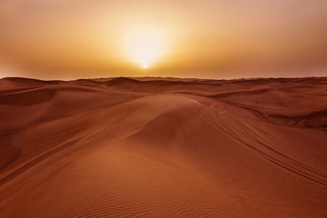 Sunset in desert in UAE, Sand dunes in United Arab Emirates