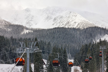 Mountain landscape, cable car, Slovakia