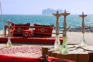 Sea beach, United Arab Emirates. Abu Dhabi. Hookah bar on Sir Bani Yas island