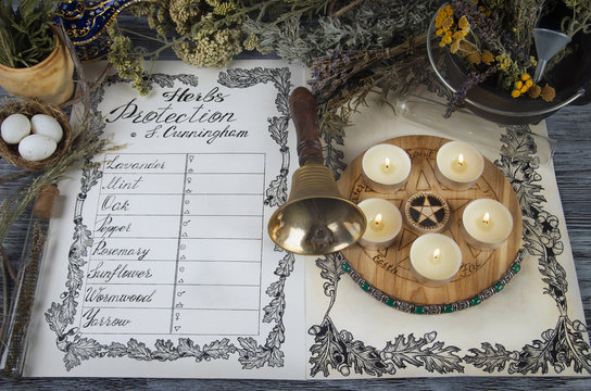 Wiccan Book of Shadows with classic protection spells