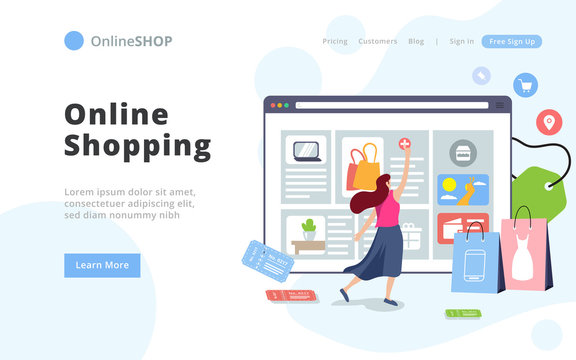 Modern style Online Shopping Landing Page Template. Young woman shop online using web browser. Easy to edit and customize. Vector illustration