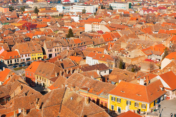 Old brick and orange tile houses in Europe