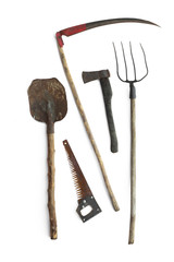 vintage agricultural tools on white background
