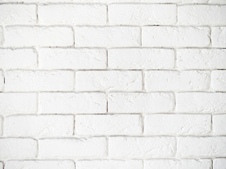 Medium shot of white painted misty brick wall for design background or texture