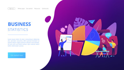 Sales pitch. Data visualization element, marketing chart. Research data. Business statistics, financial report, company performance analysis concept. Website homepage landing web page template.