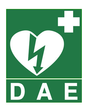 AED sign called DAE in French language