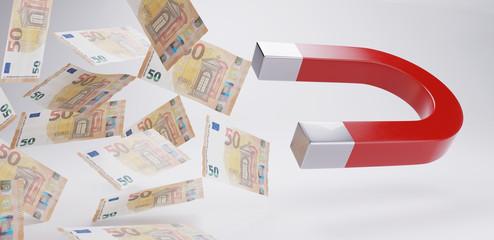 money magnet fifty euro bills 3d-illustration