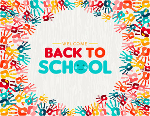 Wall Mural - Back to school card of diverse children hand print