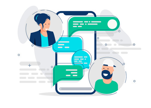Vector illustration of mobile chat communication template between a girl and a man, cloud with text in messenger