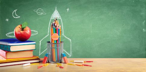 Back To School - Books And Pencils With Rocket Sketch Wall mural