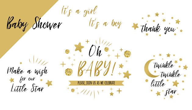 Baby shower set gold templates Twinkle twinkle little star text Oh baby glitter star invtation thank you card
