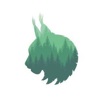 Wild Lynx Head Silhouette
