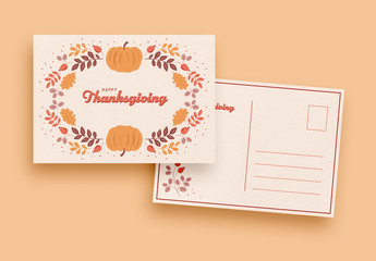 Thanksgiving Card Layout with Leaf and Pumpkin Illustrations