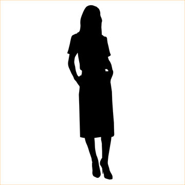 Vector black female silhouette of fashion woman isolated on white background 4