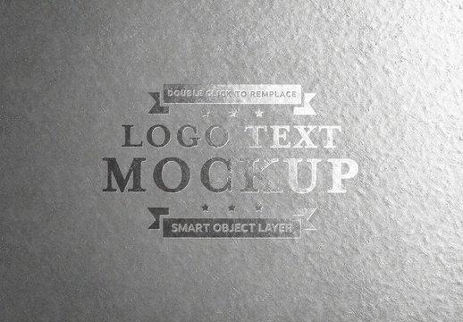 Embossed Silver Text on Aluminium Mockup
