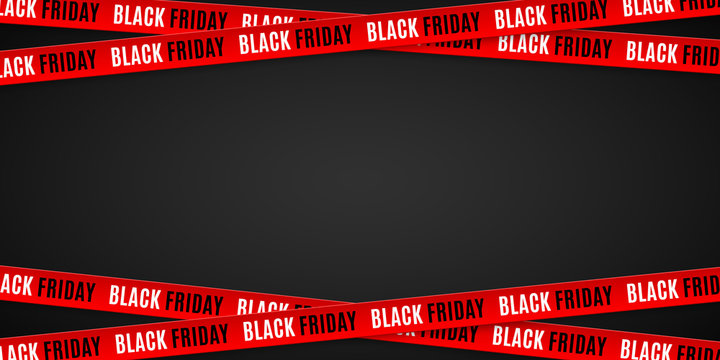 Red ribbons for black friday sale on black background. Crossed ribbons. Big sale. Graphic elements. Vector illustration