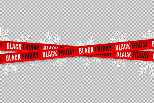 Red ribbons for black friday sale isolated on transparent background. Crossed ribbons. Snowflakes. Graphic elements. Vector illustration