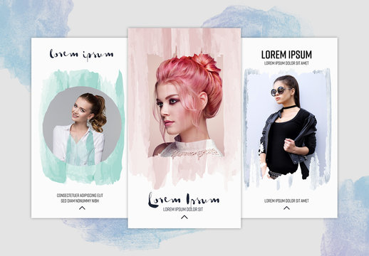 Social Media Stories Layouts with Watercolor Elements