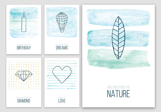 Abstract Colorful Postcard Layouts