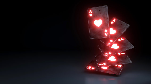 Casino Gambling Concept Royal Flush in Hearts Poker Cards On The Black Background - 3D Illustration