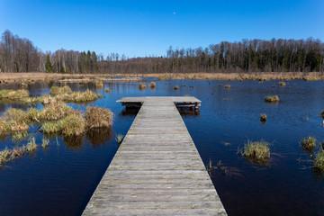 Foto auf AluDibond Himmelblau Landscape with lake in summer. Blue sky