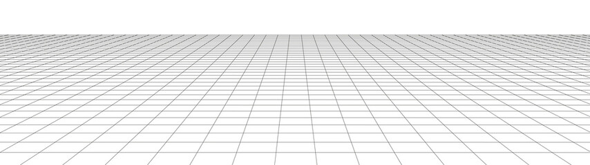 Vector perspective grid. Detailed lines on white background. Widescreen illustration. Fotobehang
