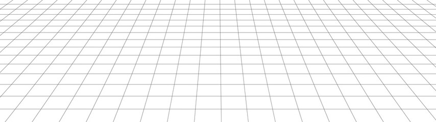 Vector perspective grid. Detailed lines on white background. Widescreen illustration. Wall mural