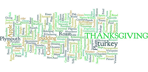 Thanksgiving word cloud illustration on white background