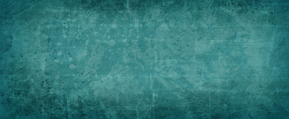 Blue green background texture, dark teal color with abstract vintage paint spatter texture with rock wall overlay design, elegant paper illustration