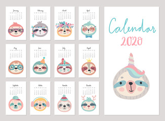 Fototapete - Calendar 2020. Cute monthly calendar with sloths.