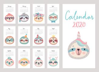 Wall Mural - Calendar 2020. Cute monthly calendar with sloths.