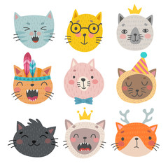 Wall Mural - Cute cats faces. Hand drawn characters. Vector illustration.