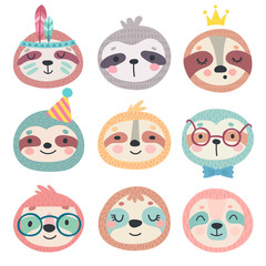 Fototapete - Cute sloths faces. Hand drawn characters.