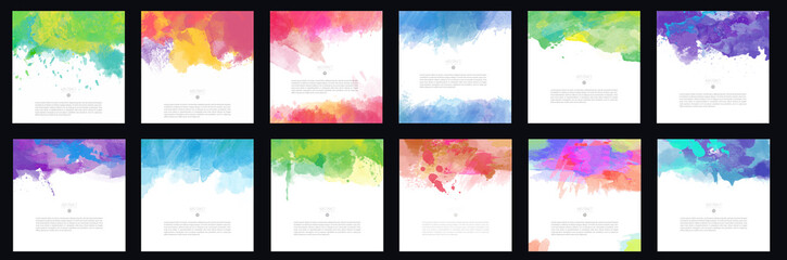 Big set of bright colorful vector watercolor brush background design elements Fotomurales