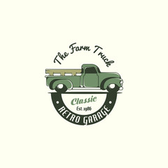 Retro truck logo tenplate vector. Farm truck logo