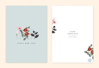 Minimalist botanical new year greeting card template design, Curcuma alismatifolia, poppy, Nemophila and red Japanese camellia flowers on light blue, vintage style
