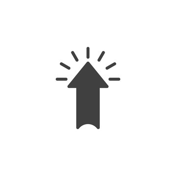 Arrow click vector icon. filled flat sign for mobile concept and web design. Arrow up point glyph icon. Upload symbol, logo illustration. Vector graphics