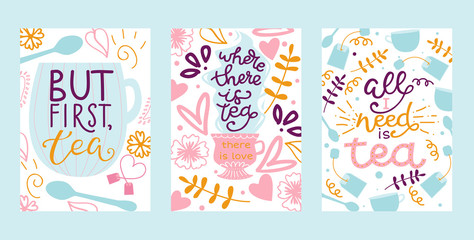 Tea vector illustration cards with hand drawn lettering design element for greeting cards, prints and posters. Make tea in teabag and cup of green bio tea in pastel colors.