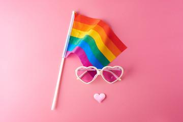 Pink glasses, hearts and rainbow flag lgbt. Gay parade