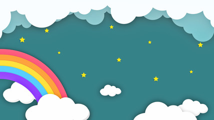 Abstract kawaii Colorful Sky rainbow background. Soft gradient pastel Comic graphic. Concept for children and kindergartens or presentation
