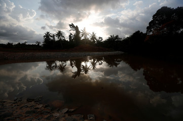 A small lake reflecting palm trees is pictured in Nsuaem district