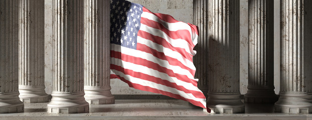 US flag, classic columns historical building. 3d illustration Wall mural